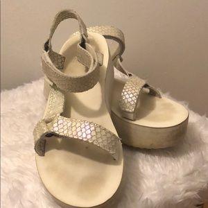 Iridescent  white Teva  sandals